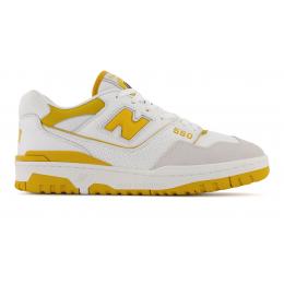 Кроссовки New Balance 550 белые с желтым