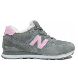 Зимние кроссовки New Balance женские серые с розовым
