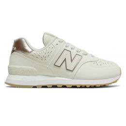 New Balance 574 белые с серебристым