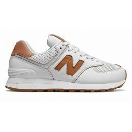 Кроссовки New Balance 574 мужские белые с коричневым