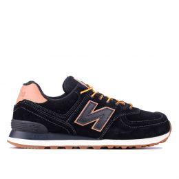 Кроссовки New Balance 574 мужские черные с бежево-оранжевым