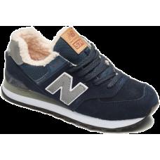 New Balance зимние 574 темно-синие