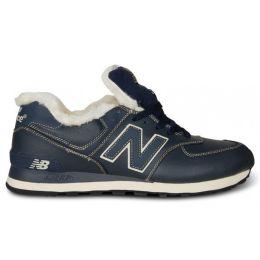 Кроссовки мужские New Balance темно-сине-белые зимние