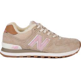 Кроссовки New Balance зимние женские бежево-розовые