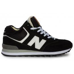 Кроссовки New Balance (Нью Баланс) черно-белые зимние мужские